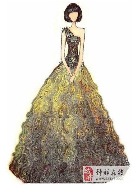手绘晚礼服,瞬间想结婚了!
