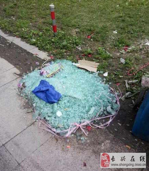 """浙北一垃圾桶边上""""躺着""""一堆玻璃碎渣"""