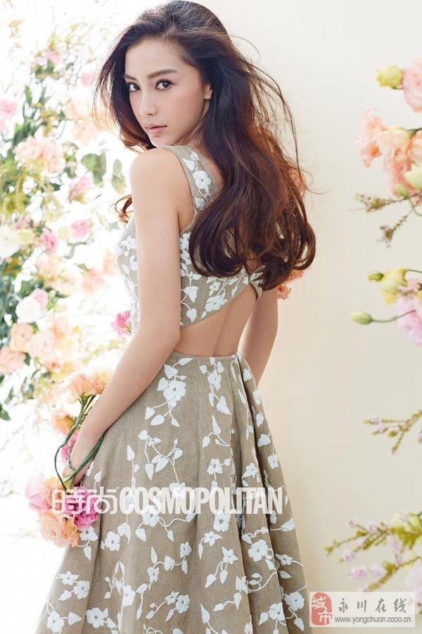 Angelababy登时尚杂志封面 演绎春日花样淑女
