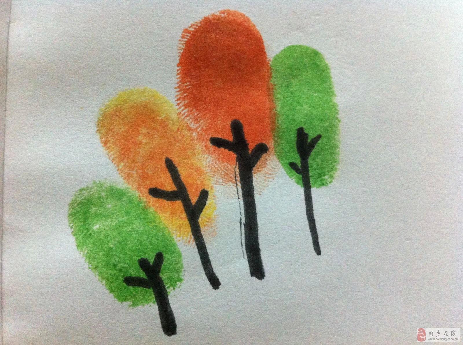 有趣儿童指纹画,简单易教图片
