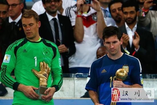 梅西获巴西世界杯金球奖 继承马拉多纳衣钵