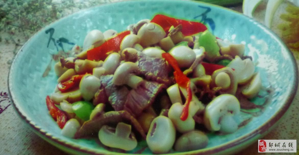 """20140809:我们在青州吃到的""""蘑菇炒牛肉""""!"""