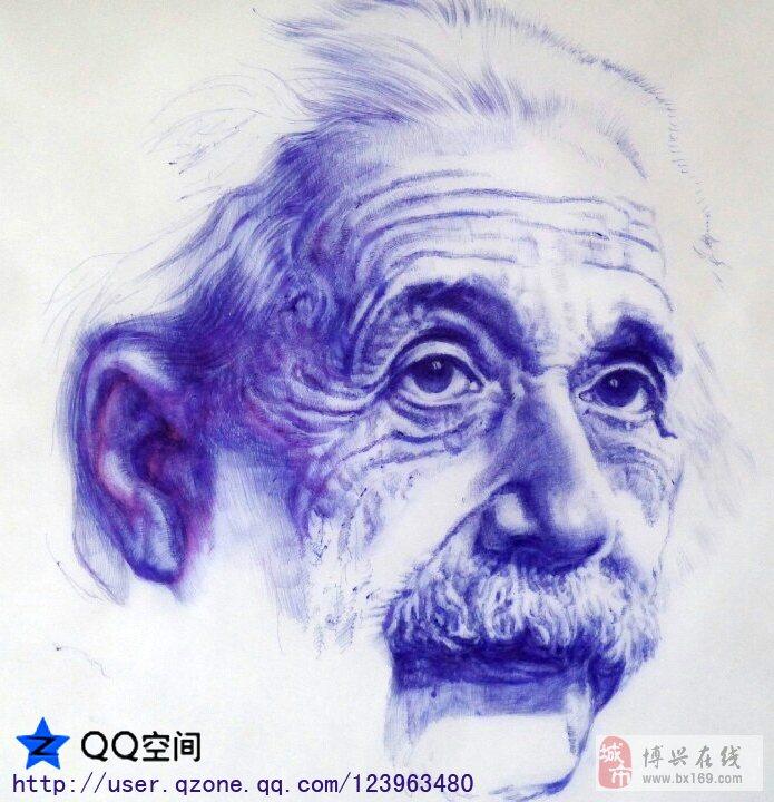 爱因斯坦素描《圆珠笔素描》