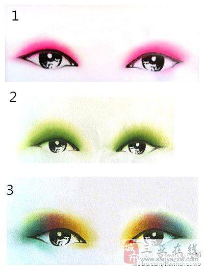 渐层法:先选用浅色眼影涂抹整个眼睑,然后选用深色眼影从睫毛根部逐渐