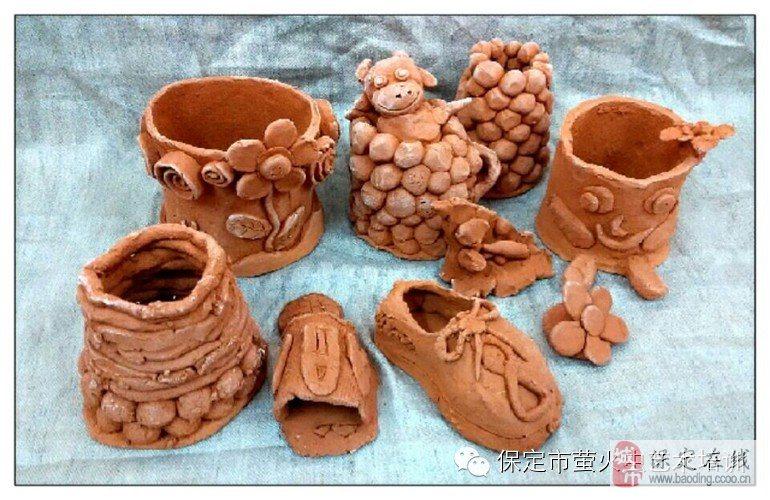 孩子们可爱的diy陶艺作品