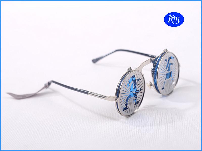 2014新款双层个性翻盖复古金属圆框中国风时尚太阳镜