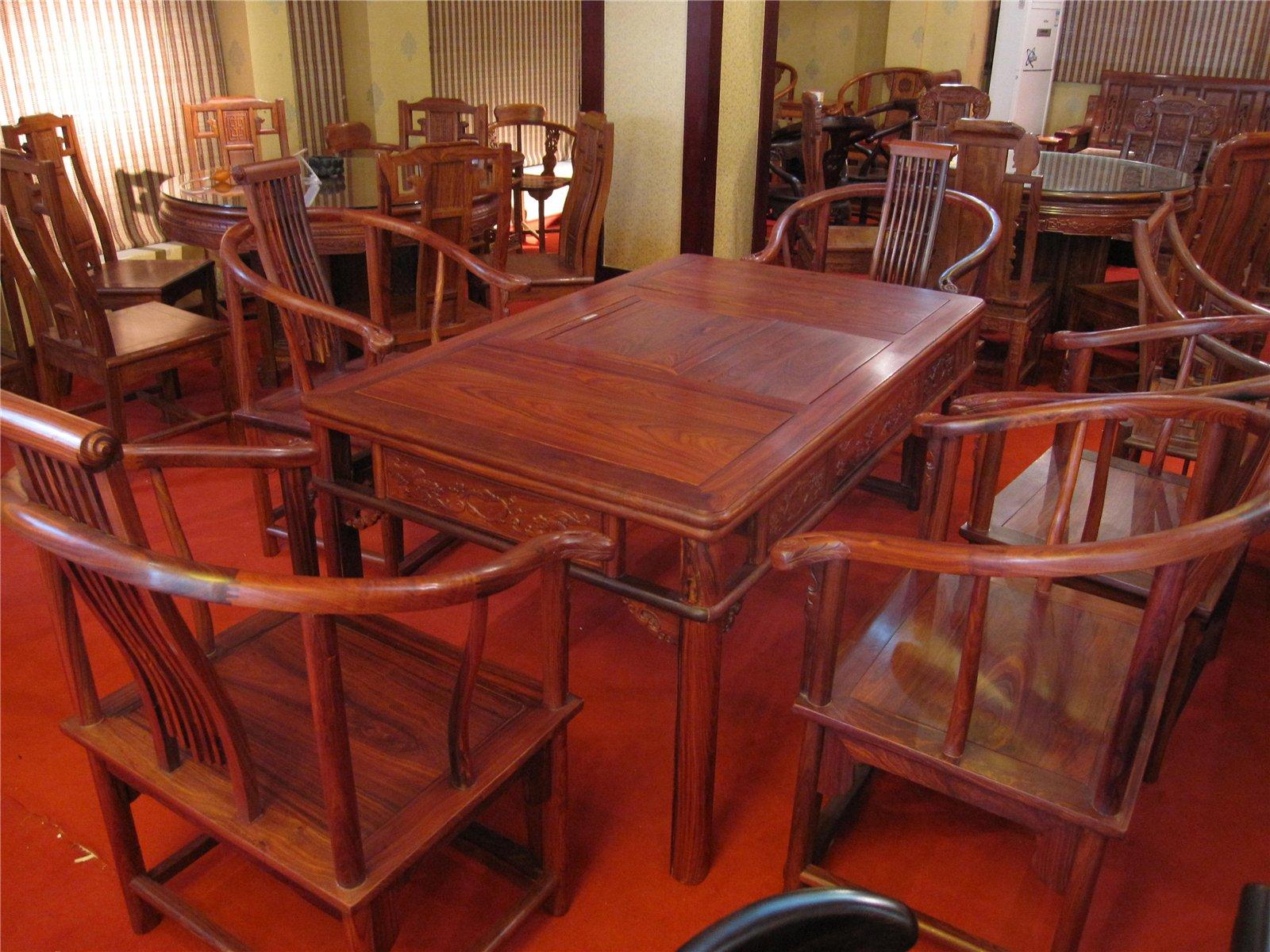 小叶红檀茶桌图片