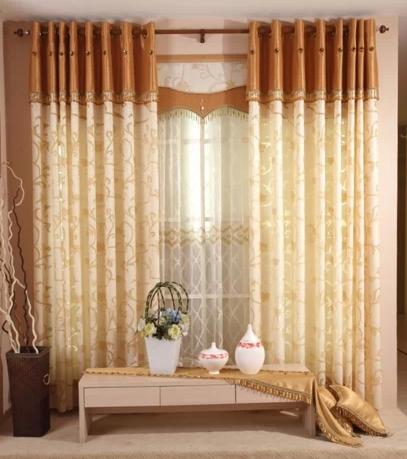 简约欧式中式客厅餐厅雕花伊莎莱窗帘