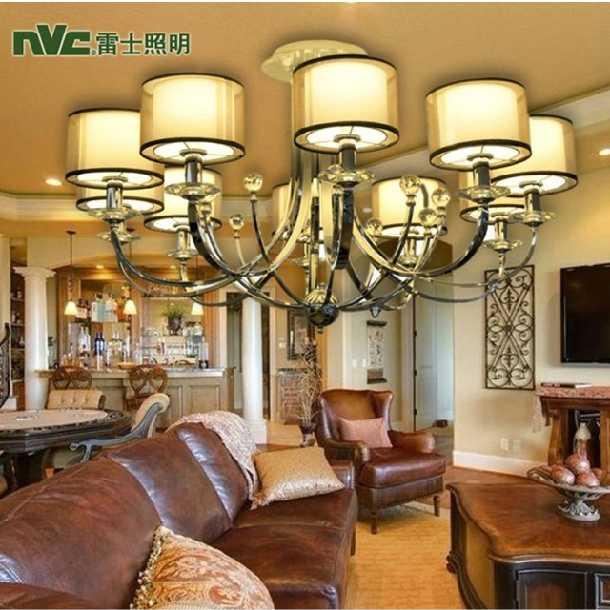 雷士照明现代欧式吊灯水晶灯客厅卧室书房8个头时尚