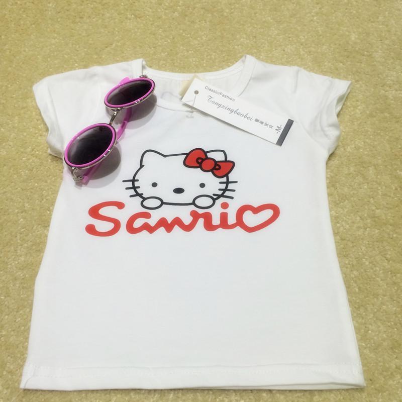 小乖宝纯色可爱猫咪图案短袖t恤