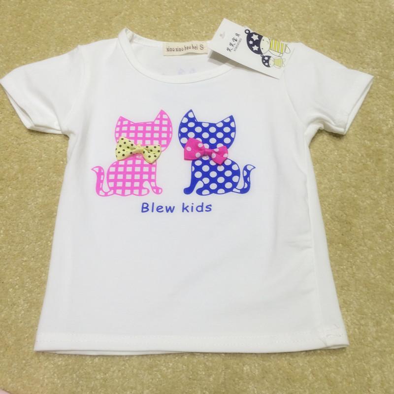 小乖宝纯色两只卡通猫图案短袖t恤_亲子街_黔江在线