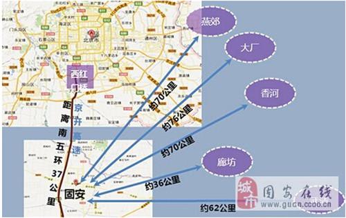 北京到固安地图