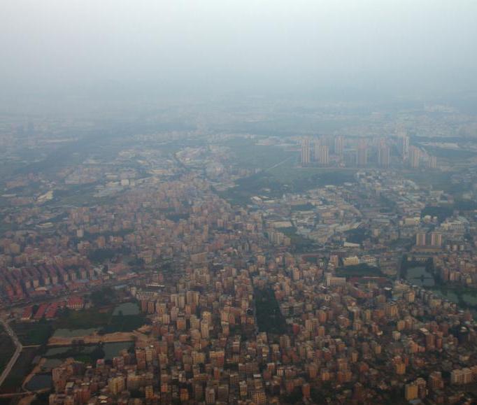 北京到广州航班上拍摄南北雾霾