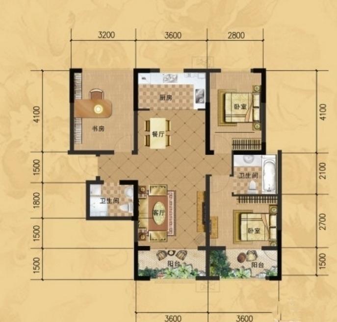 龙门山水华庭e3户型图3室2厅2卫1厨