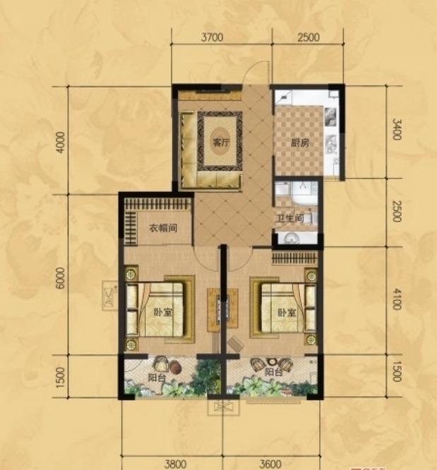 龙门山水华庭d2户型图2室1厅1卫1厨