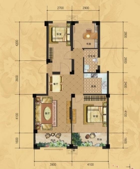 龙门山水华庭d户型图3室2厅1卫1厨