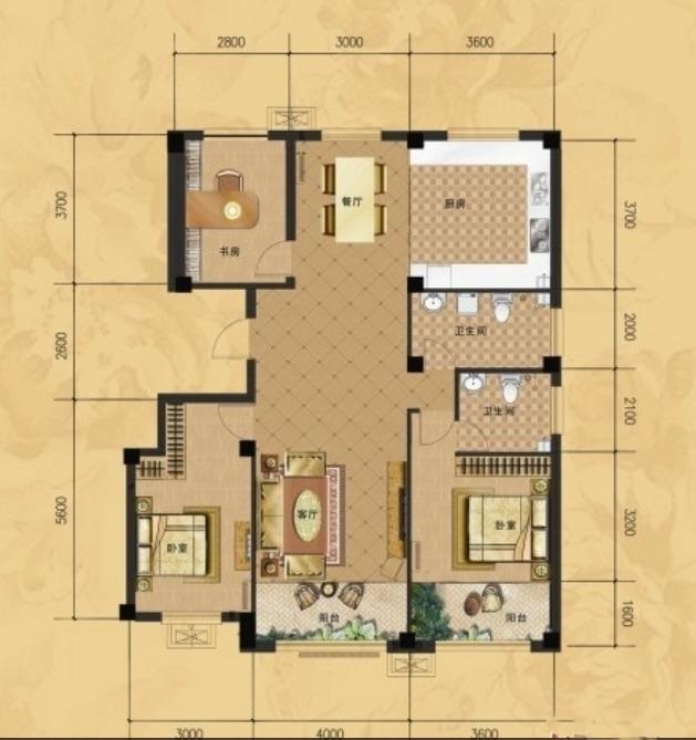 龙门山水华庭c户型图3室2厅2卫1厨