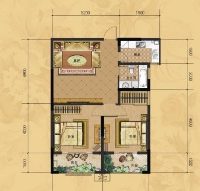 龙门山水华庭b2户型图2室1厅1卫1厨