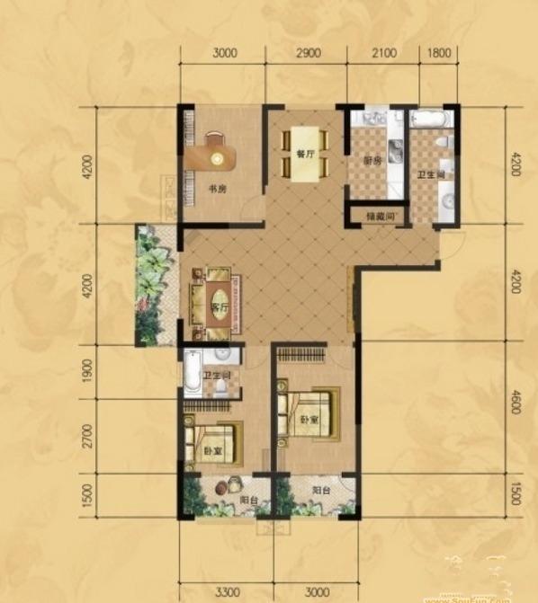 龙门山水华庭b1户型图3室2厅2卫1厨