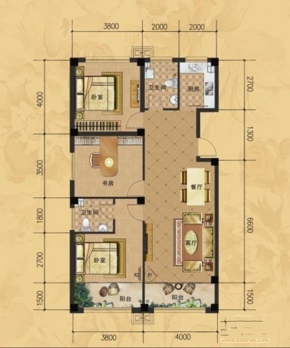 龙门山水华庭a户型图3室2厅2卫1厨