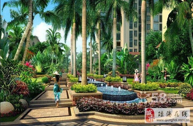 水系景观,以雨林和湖构筑园林主色调,点缀拱桥,叠水,花园等各类小品