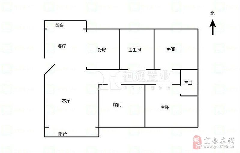 120平方的楼房四房一厅设计图