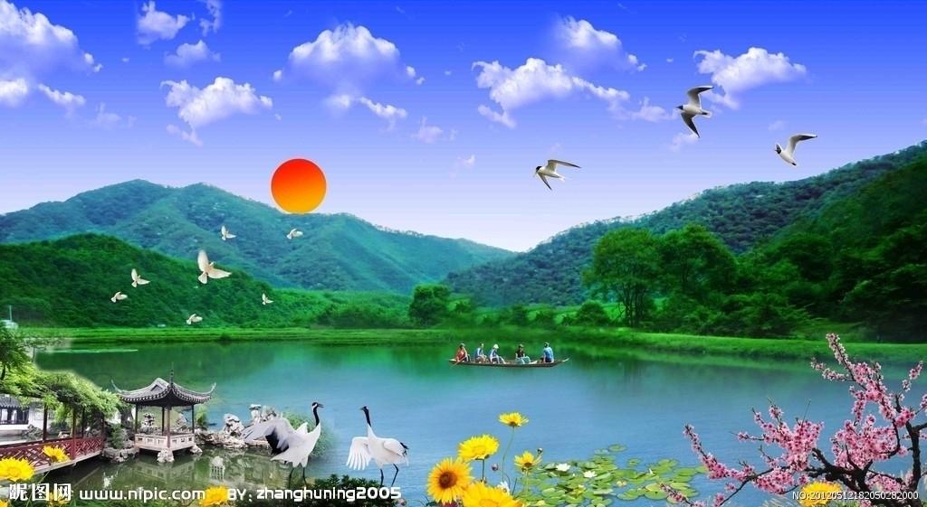 青山绿水风景图片