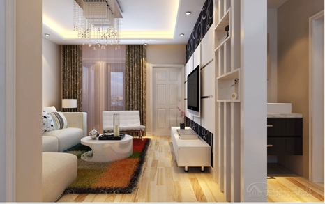 85平现代简约风格二居客厅背景墙装修效果图,现代简约风格黄花梨木电视柜图片