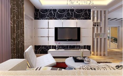 85平現代簡約風格二居客廳背景墻裝修效果圖,現代簡約