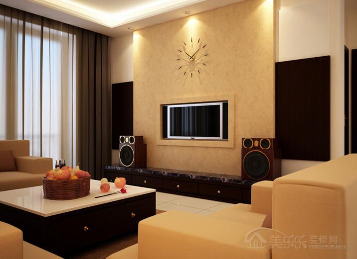 现代简约风格客厅电视背景墙装修效果图,现代简约风格红木电视柜图片