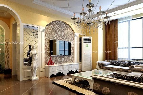 这张简欧客厅装修效果图中的简欧客厅装修欧式风格就显得比较明显了。不过仔细观察,也会发现仅仅是使用了一些碎花的元素而已,碎花地毯与布艺沙发,还有电视墙纸,光是这几处就足以将这个暗黄色的空间装扮成欧式风格的装修,还有电视墙两边的仿欧式石柱设计与一座石膏雕像更是将整个空间的简欧风格凸显无疑。