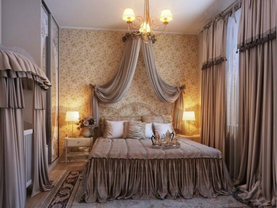 欧式窗帘装修效果图一 欧式窗帘给我们一个奢华的美感,在欧式风格的家居中,大气的欧式窗帘能够塑造一种独特的华丽感,让我们的居室变得别具一格,欧式窗帘的富丽之感是许多有品位的人的最佳选择。云线形的帘头是传统欧式窗帘的一大特色,像这种比较经典的造型是可以让欧式