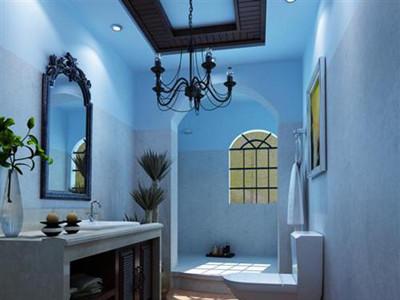 欧式客厅浅蓝色壁纸装修效果图
