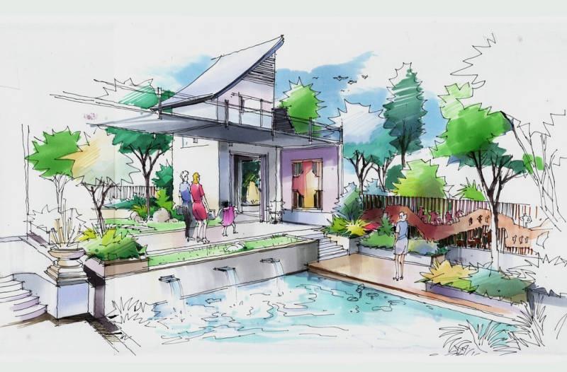 价格手绘稿别墅西雅图别墅图片