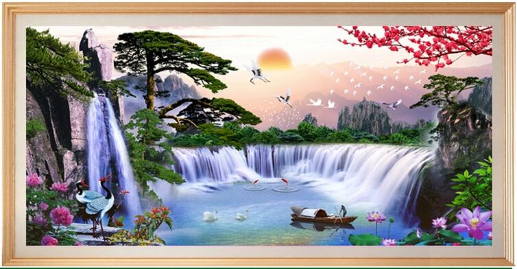 花十字绣迎客松聚宝盆客厅大幅山水画客厅大幅风景风水大画图片