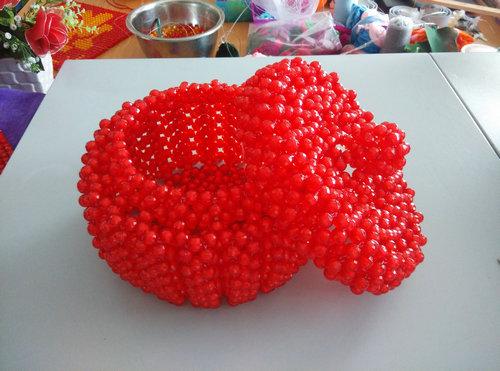 纯手工红色南瓜串珠糖果盒礼品工艺品