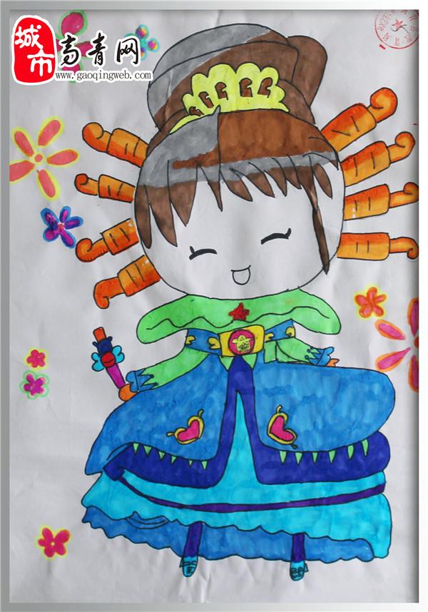 赵文雅 女 11岁 常家镇中心小学 五年级 参赛项目:绘画——可爱公主