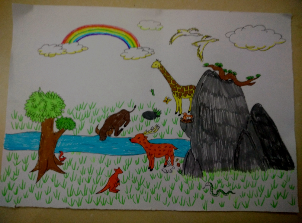 绘画《多彩的动物世界》