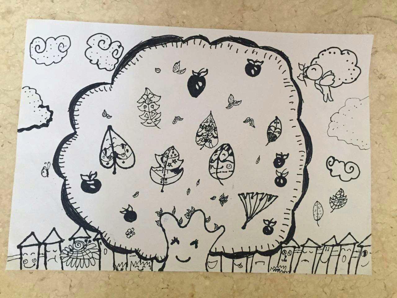 8054绘画《黑白线果树》