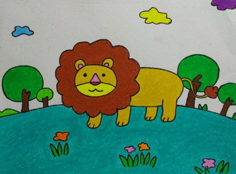 儿童画画图片大全动物狮子